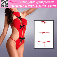 2015 new cheap sexy women black satin bow accent hot red night teddy lingerie
