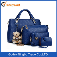 4 in 1 custom woman tote bag leather bag lady handbag shoulder bag/Beautiful Girl Stone Leather Handbags Wholesale