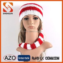 Popular 100% acrylic handmade all in one knitted scarf hat