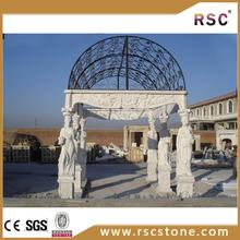 Beautiful white marble gazebo carving stone