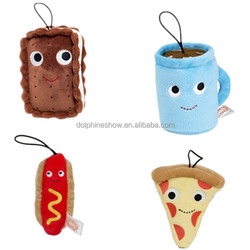Soft mini toy hot dog and pizza stuffed plush food keychain