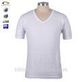 Camisetas blanco para hombre de algodón llano v-cuello ,baratos