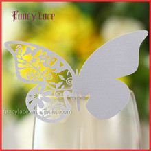 Laser Cutting Wedding Decorations Place Name Cards,Butterfly Shaped Design Wine Glasses Cards Event Party Decoration
