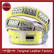 diseño de lujo vaquera concho verde amarillo cinturón de diamantes de imitación