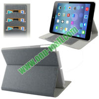 With Card Slot Linen Texture Style Wallet Leather Case for iPad 5 with Holder(Brown)