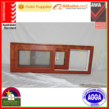 PVC Sliding Window with German Brand Wooden Like Color Laminated Film Cover and With Flynet Screen For Brazil Client