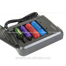 inteligente cr123a/14500/18650 li-ion cargador cilíndrica de la batería de li-ion cargador rápido 4 canal