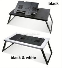 folding padded ABS computer ABS computer laptop table with fans and adjustable height legs