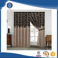 2015 New polyester lace curtain design for living room hotel with valance