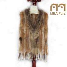 Women's Knitted Rabbit Fur Vest Gilet with Raccoon Collar
