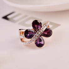 Luxurious Women Rings Made With Element Austrian Crystal Butterfly Female Party Jewelry Retro Punk Ring B011
