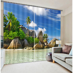 New arrival china made wholesale ready made curtain with cool beach design picture printed