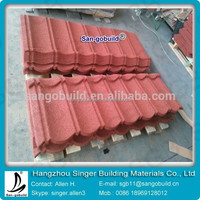 Construction building roofing material wave type stone coated red color metal roof tile