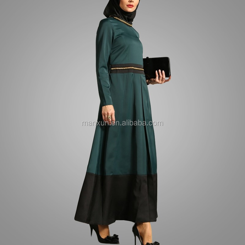 OEM Chine Fournisseur 2016 Musulman Abaya Dames Kurta Conception Chaîne Détails Manches Longues Muslimah Robe