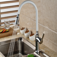 White Painting & Chrome Brass Kitchen Faucet Swivel Spout Single Handle Hole Deck Mounted Sink Mixer Tap