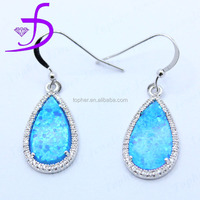 Newest Fashionable Design 925 Sterling Silver Prong Setting Blue Opal Earrings