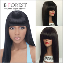 Wholesale price Silk Top lace front wig Unprocessed Glueless Indian Natural Black Silky Straight full lace wig with Bangs