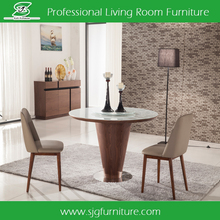 Wooden Round Dining Table with Glass Top Design DT-4512