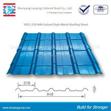 Trapezodial 840 glazed color painted galvanized corrugated iron roof sheet