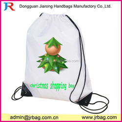 White strong drawstring Gym Bag as perfect giveaway,Christmas shopping drawstring backpack