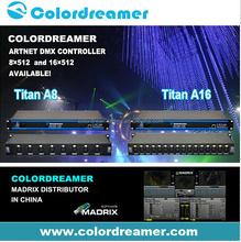 DMX multi channel LED controller,8 node /16 node RGB RGBW Madrix compatible 16*DMX 152 channel controller