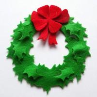 15'' Green&Red felt wreath for christmas door hanger