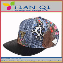 good quality leather fabric secret leopard patchwork snapback hats and caps