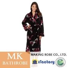 Black floral microfiber fleece dressing gown