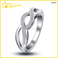 SR8591 fashion design for 2015 lab diamond cz paved hollow band women silver ring anillo de circon plata