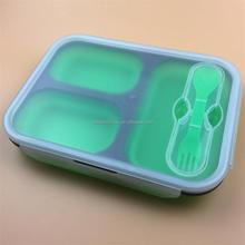 Fda et LFGB Cetificated 3 compartiment boîte à Lunch de Silicone / fourchette et cuillère pliage boîte à lunch, Enfants boîte à Lunch