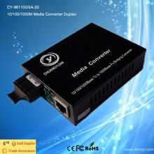 10,100,1000Mbps 20KM Single Mode Dual Fiber Media converter