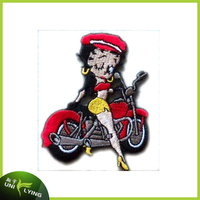 A pretty girl motorcycle embroidery patches cheap wholesale