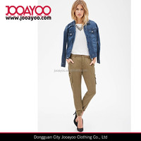 Women's Fashion Olive Pockets Woven Cargo Joggers Pants