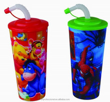 2015 platic 3D lenticular cup with lid and straw for party or promotion