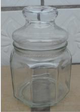 375 ml em forma de hexágono airtight vasilha de vidro