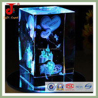 unique 3d crystal birthday gift with light base for little girl's gift in 2015