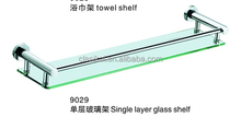 304 stainless steel China wholesale bathroom accessories single glass shelf