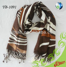 2015 Floral Printed Cashmere Feel Long Fashion Acrylic Scarf with Frings