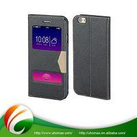 Premium Quality Custom Design Flip Leather Window View Leather Phone Case For Iphone 6