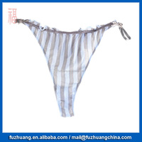 High Quality Blue Grey Stripe Women Sexy Bikini T Back Panties 003