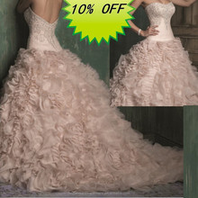 Hot Sale Long Good Quality Organza Beaded Bodice Ruffled Skirt Elegant Mermaid Wedding Dress