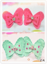hot pink and light blue bow hair clips