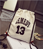 Whale Printing Canvas Drawstring Bag/ travel shopping bag