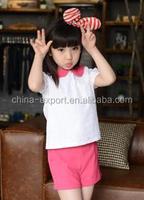 fa15135 2015 wholesale fashion hot sale new summer girls white T-shirt+pink short pants sweat girls clothes set