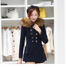 Women cultivating wild winter new wool coat Girls long section fur collar wool coat