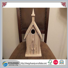 "CHURCH Bird House China Built Wooden Birdhouse NEW BIRCH Wood handmade 12"" TALL"