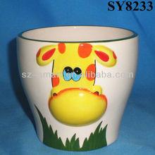 Yellow cow embossed mini animal ceramic planter pot