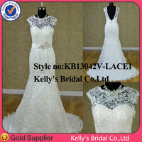 expensive import lace sexy beach v back lace trumpet mermaid wedding dress