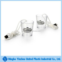 new product for 2015,wholesale mini wine plastic shot glass with lanyard
