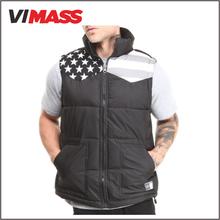 Newest fashion design winter vest, wholesale custom printing sleeveless vest for men